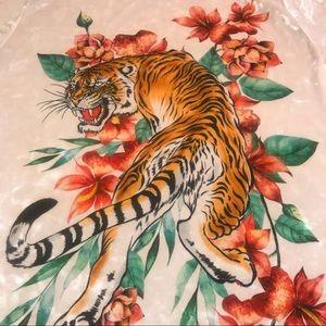 Tiger Print Velour T-shirt Dress